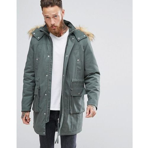 heavyweight parka with borg lining and faux fur trim in khaki - green marki Asos