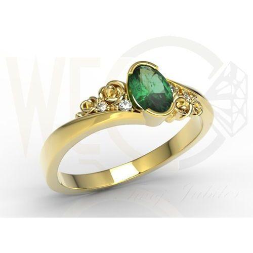 Węc - twój jubiler Pierścionek z żółtego złota ap-39z ze szmaragdem i diamentami 0,03 ct