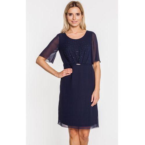 Granatowa sukienka z ozdobnym marszczeniem - Vito Vergelis, kolor niebieski