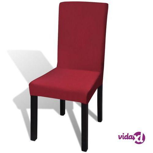 Vidaxl elastyczne pokrowce na krzesła, bordowe, 6 sztuk