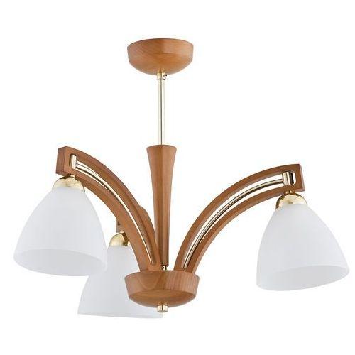 Lampa wisząca Alfa Magnat 21383 zwis żyrandol 3x60W E27 jasny brąz, złoty, biały