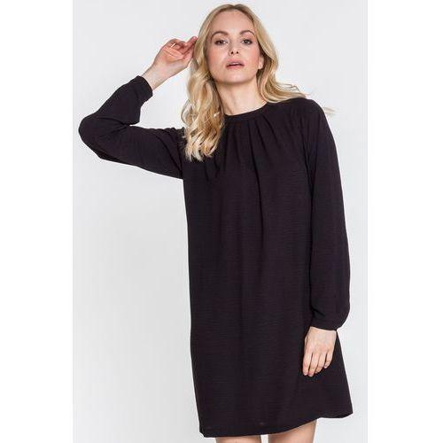 Czarna sukienka z długim rękawem zakończonym mankietem avion - marki Tova