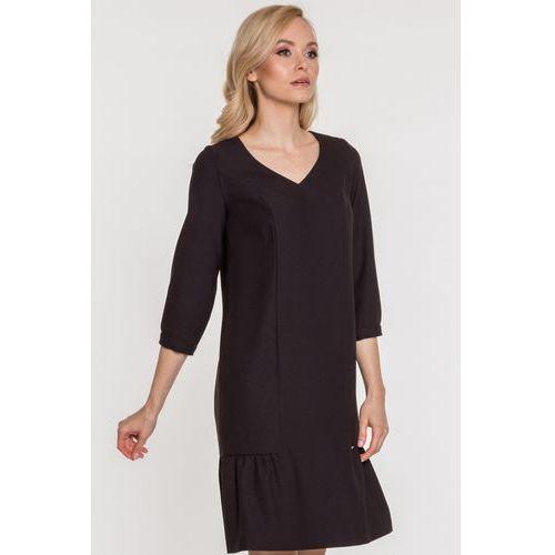 Czarna sukienka z falbaną - EMOI, 1 rozmiar