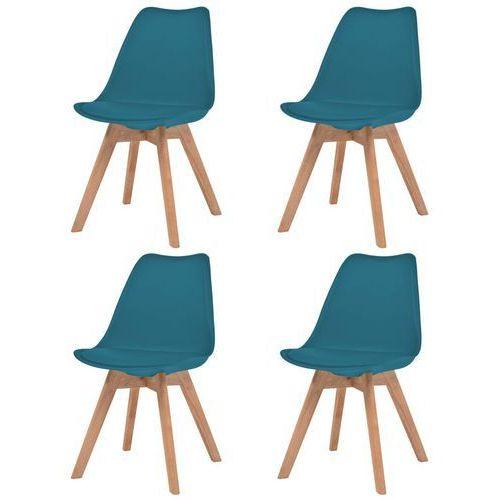 vidaXL Krzesła, 4 sztuki, sztuczna skóra, lite drewno, turkusowe