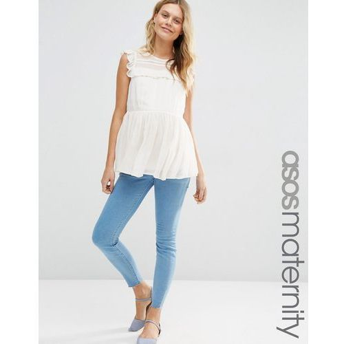 ASOS Maternity Ridley Skinny Jeans in Primrose Wash With Under The Bump Waistband - Blue