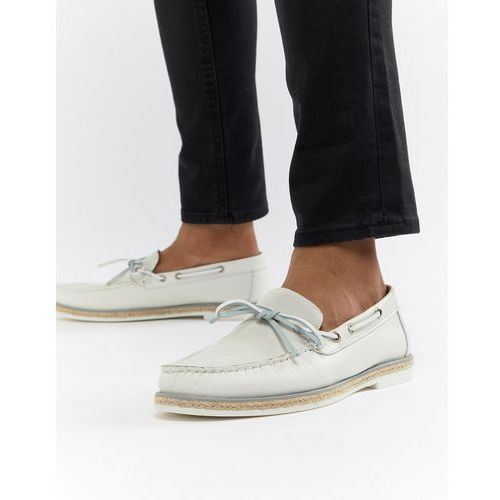 River island leather loafers in white - white