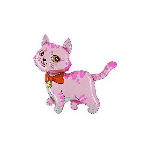 Balon foliowy do patyka Kotek różowy - 37 cm - 1 szt.