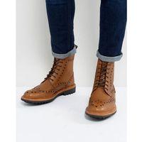 Ben sherman brogue boots in tan leather - tan
