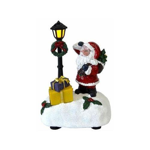 Mikołaj podświetlany LED na baterie 12 cm