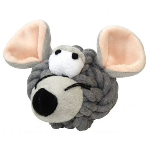 Wesoły szczurek z mocnego sznura i pluszu - zabawka dla psów