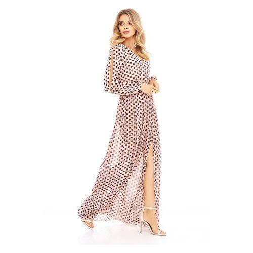 Sukienka Penelopa brzoskwiniowa w kropki