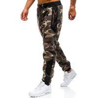 Spodnie męskie dresowe joggery moro khaki Denley TC877, dresowe