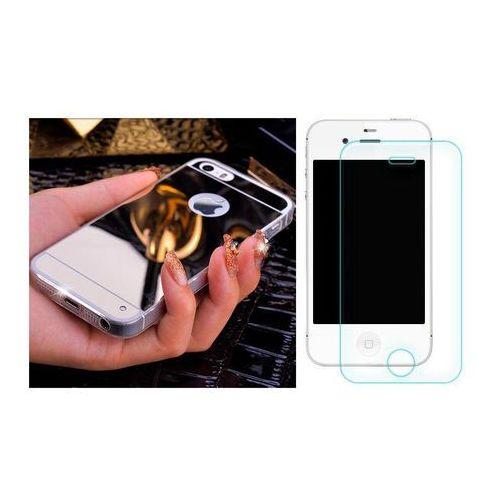Slim mirror / perfect glass Zestaw | slim mirror case srebrny + szkło ochronne perfect glass | etui dla apple iphone 4 / 4s