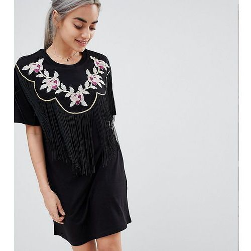 ASOS DESIGN Petite embroidered yoke western t-shirt dress with fringing - Black