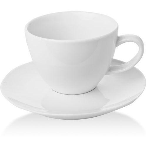 Fine dine Filiżanka elegancka ze spodkiem porcelanowa bianco