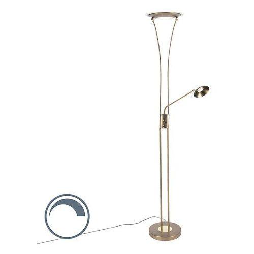 Qazqa Nowoczesna lampa podłogowa brąz z ramieniem do czytania zawiera led - ibiza