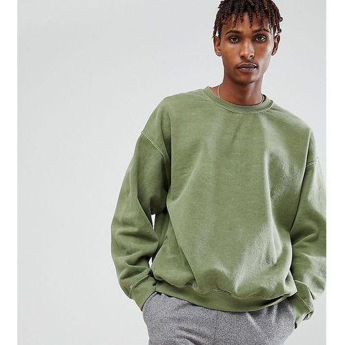 inspired oversized sweatshirt in khaki overdye - green, Reclaimed vintage, S-L