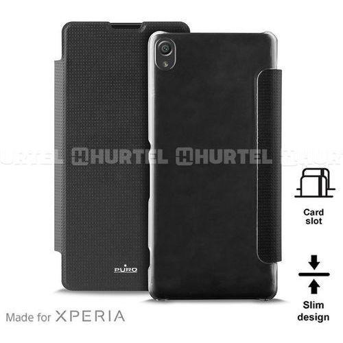 PURO Booklet Wallet Case MFX - Etui Sony Xperia XA z kieszenią na kartę (czarny/przezroczysty tył) Odbiór osobisty w ponad 40 miastach lub kurier 24h (8033830169748)