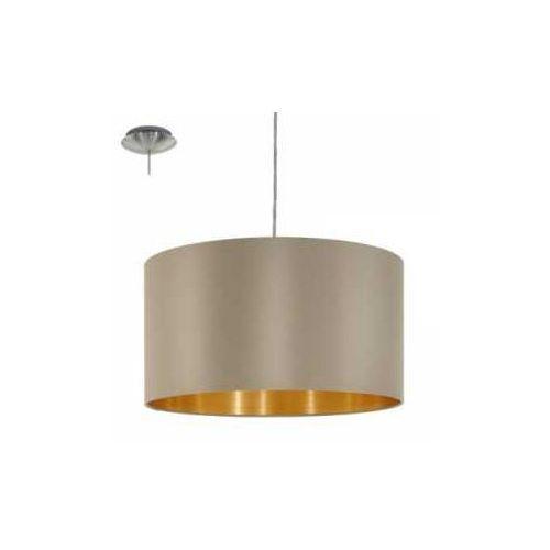 Lampa wisząca Eglo Maserlo 31602 z abażurem 1x60W E27 cappucino/złota, 31602