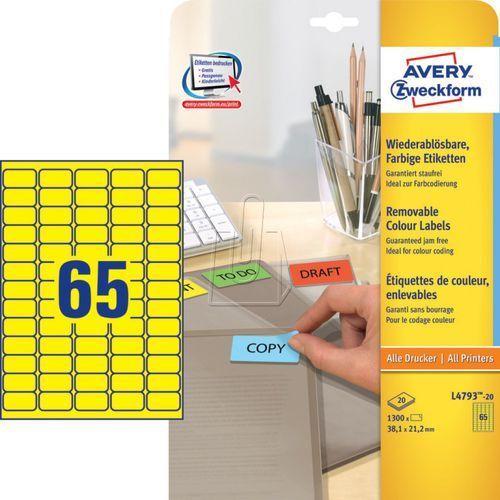 Avery zweckform Etykiety kolorowe usuwalne żółte 38,1 x 21,2mm 20 ark./op. l4793 (4004182647936)