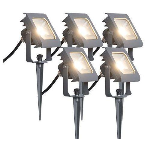 Led naswietlacz Radius 2 10W ciemno szary z klinem ziemnym zestaw 5 sztuk