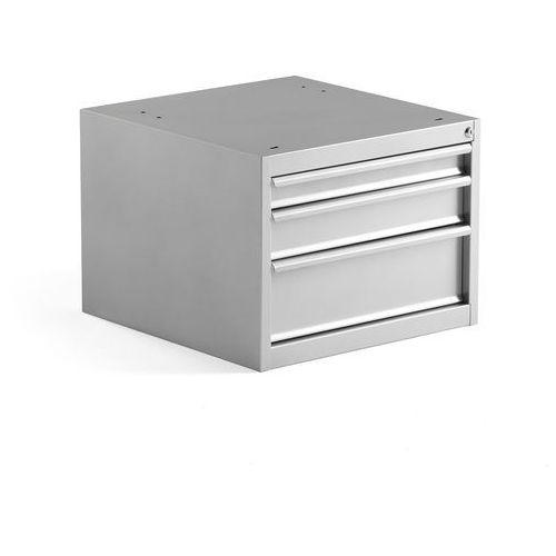 Szafka z szufladami MOTION, do stołu roboczego, 3 szuflady, szary