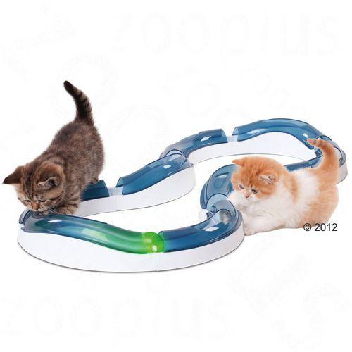 Catit design senses super roller, szyna do zabawy - fireball, pomarańczowa piłka