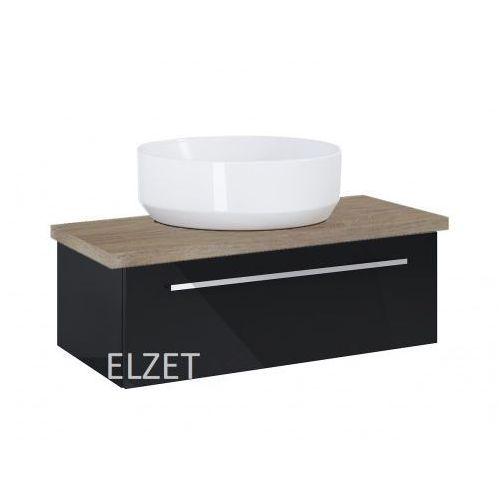 Elita szafka kwadro plus 1s black pod umywalkę nablatową + blat 80 dąb classic 167645.166872