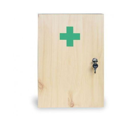 Drewniana apteczka ścienna, 43x30x14 cm, świerk, bez zawartości