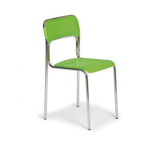Plastikowe krzesło kuchenne ASKA, zielony - chromowane nogi