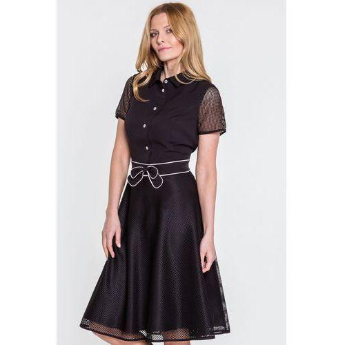 Czarna sukienka z kokardą - Metafora, 1 rozmiar