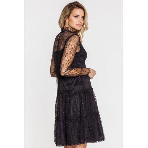 Wieczorowa sukienka z haftowanym tiulem - GaPa Fashion, kolor czarny