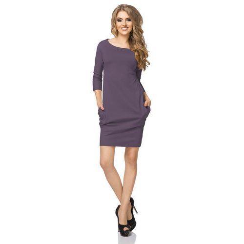 Fioletowa Sukienka z Drapowaniem i Kieszeniami, kolor fioletowy