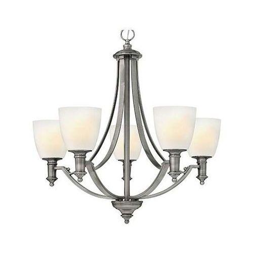 Żyrandol lampa wisząca hk/truman5 elstead szklana oprawa w stylu secesyjnym na łańcuchu nikiel szczotkowany biała marki Hinkley