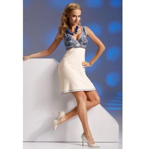 Koszulka Nocna Model Kaja Cream/Navy, kolor niebieski