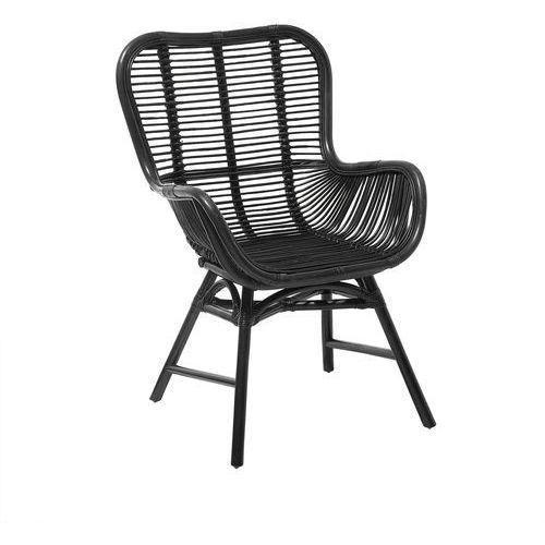 Beliani Krzesło rattanowe czarne togo
