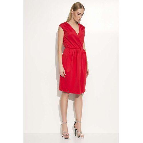 Czerwona Sukienka z Kopertowym Dekoltem, kopertowa