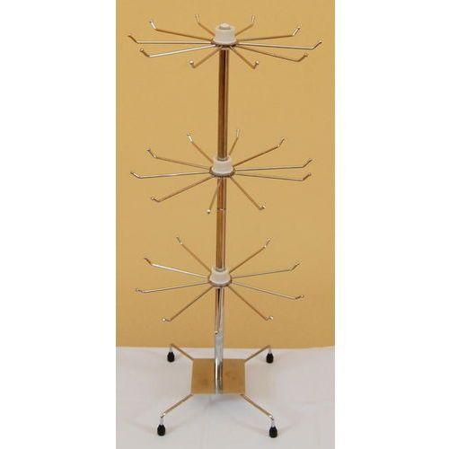 Obrotowy, 3 poziomowy, metalowy stojak do biżuterii chromowany - model II, 01029