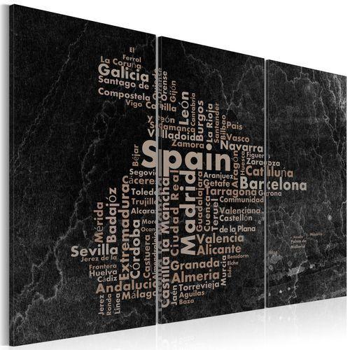 Artgeist Obraz - text map of spain on the blackboard - triptych