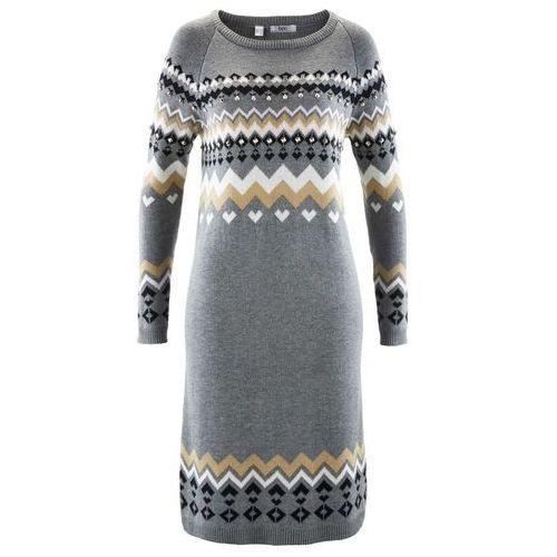 Sukienka dzianinowa bonprix szary melanż wzorzysty, w 4 rozmiarach