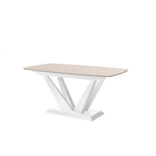 Hubertus design Stół rozkładany perfetto cappuccino biały wysoki połysk