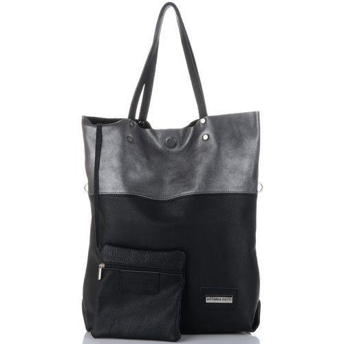 Vittoria gotti firmowe modne torebki skórzane duży włoski shopper xxl z etui idealny na co dzień i na zakupy czarny (kolory)