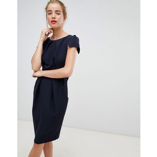 Closet London tie back short sleeve dress in navy - Navy