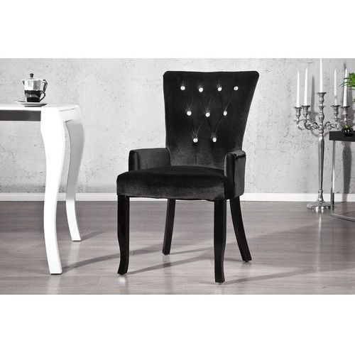 Krzesło gloria z podłokietnikami - czarne - srebrny marki Interior