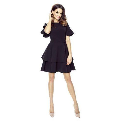 Bergamo Czarna sukienka z rozkloszowanym rękawem