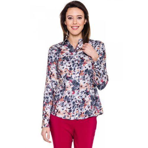 Koszula w szaro-beżowe kwiaty - Duet Woman, kolor szary