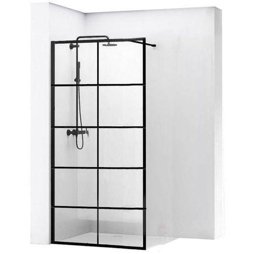 REA BLER 1 Ścianka prysznicowa 80cm, czarne profile + powłoka EASY CLEAN, loftowe (5902557343393)