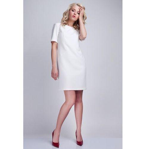 Biała Sukienka w Minimalistycznym Stylu z Dekoltem na Plecach, kolor biały