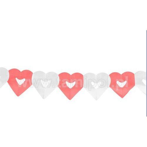 GIRLANDA PAPIEROWA SERCE biało-czerwone
