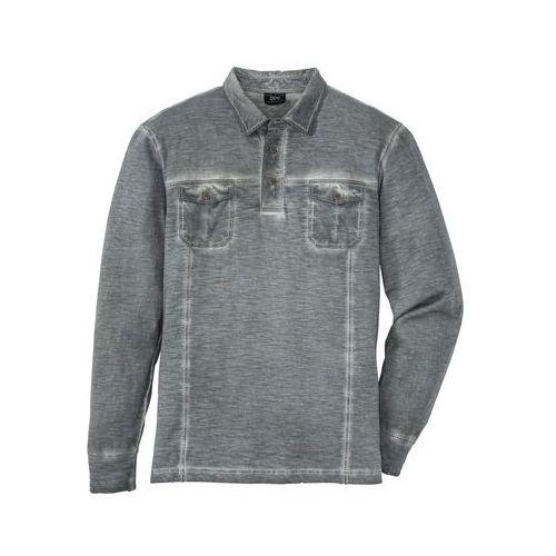 Shirt polo z długim rękawem regular fit dymny szary marki Bonprix